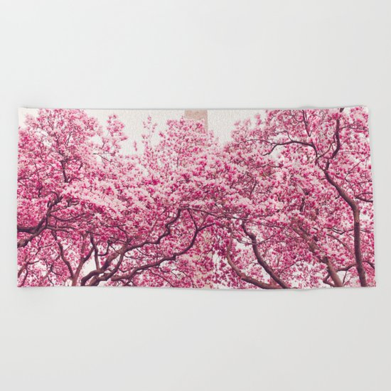 New York City - Central Park - Cherry Blossoms Beach Towel