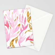 Pink and Gold Leafy Flourish Pattern Stationery Cards