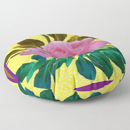 Pink  Garden Rose Leaves Morie Yellow Silk  Floor Pillow