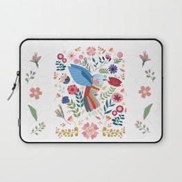 Folk Art Inspired Hummingbird In A Burst Of Springtime Blossoms Laptop Sleeve