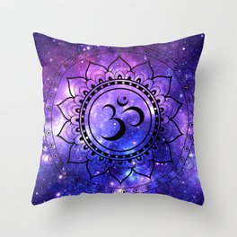 Om Mandala: Purple Blue Galaxy Throw Pillow