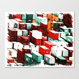 Mint Red Shipping Containers  Canvas Print