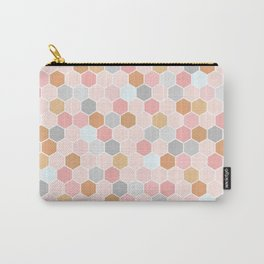 Pink Copper and Grey Tiles Carry-All Pouch