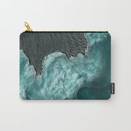 """""""Sea foam dancing on the blue ocean and gray sand"""" Carry-All Pouch"""