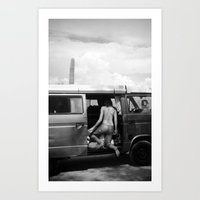 volkswagon Art Prints featuring Home Is Where We Park It by Mercedes Esquivel
