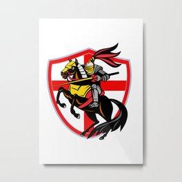 English Knight Lance England Flag Shield Retro Metal Print