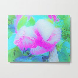 Abstract Pink Hibiscus Bloom with Flower Power Metal Print