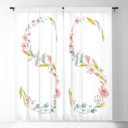 Letter S, floral initial Blackout Curtain