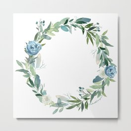 Blue Floral Wreath Metal Print