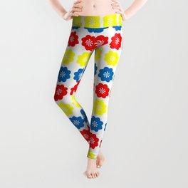 Flowers Primary Colors Pattern Leggings