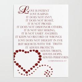 Love is patient love is kind 1 Corinthians 13: 4-7 Poster