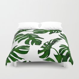 Simply Tropical Palm Leaves in Jungle Green Duvet Cover