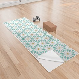Daisy Hex - Turquoise Yoga Towel