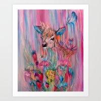 Whimsical Deer  Art Print