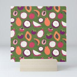 Green tropical fruits pattern Mini Art Print