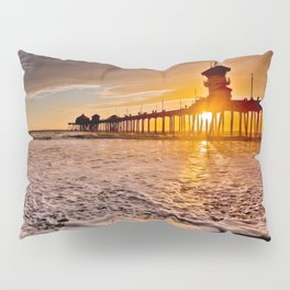 Surf City Sunsets -  Sunset At The Huntington Beach Pier 3/4/16 Pillow Sham