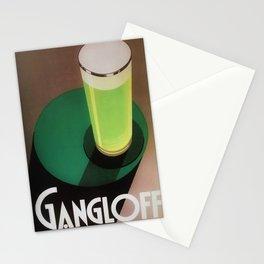 Vintage Green Gangloff Beer Tall Glass Light Ale Lager Pilsen Poster Advertising Stationery Cards