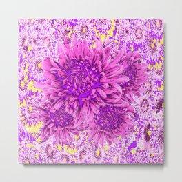 Pink-purple  Chrysanthemum Flowers Art Garden Metal Print