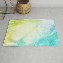 Abstract lime green teal hand painted watercolor pattern Rug