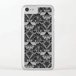 Stegosaurus Lace - Black / Grey Clear iPhone Case