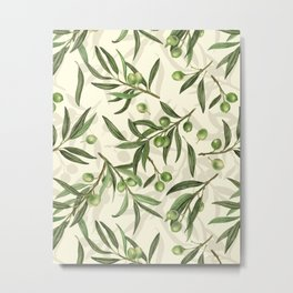 Olive branches watercolor Metal Print