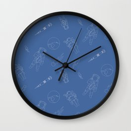 Astronauts Space Men Rocket Ship Line Art - Blue Wall Clock