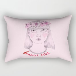 Floral Feminist Bitch Rectangular Pillow