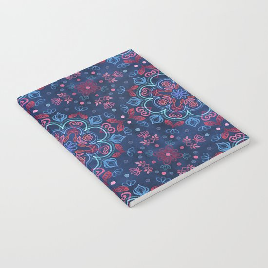 Cherry Red & Navy Blue Watercolor Floral Pattern Notebook