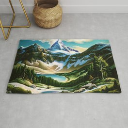 The Trail Riders Mountain Landscape by Thomas Hart Benton Rug