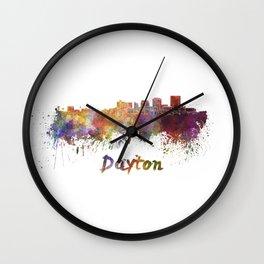 Dayton skyline in watercolor Wall Clock