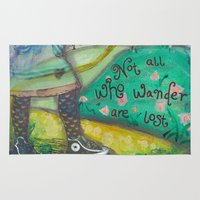 not all who wander Area & Throw Rugs featuring Wander by Aimée Wheaton Mixed Media Art & Design
