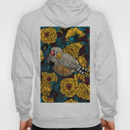 Zebra finch and rose bush Hoody