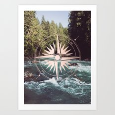 Rose Gold River Compass Art Print