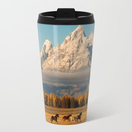 Horses Running in Grand Teton Travel Mug