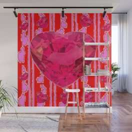 PINK JEWELED RED VALENTINE HEARTS  DESIGN Wall Mural