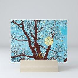 Saucer Magnolia Blue Mini Art Print