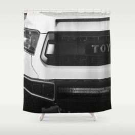 """TOY"" Tundra // Black and White Monster Truck Geared Out Big Wheels Matte Black Grille Shower Curtain"