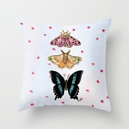 Moth Trio on Pink Dots and Blue Watercolor Throw Pillow
