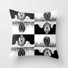 Duality: Angel/Devil Tiling (BW) Throw Pillow