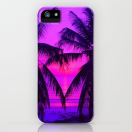 Pink Palm Trees by the Indian Ocean iPhone Case