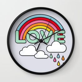 Rainbow Love Typography Wall Clock