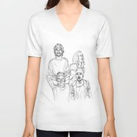 one direction V-neck T-shirts featuring One Direction by Cécile Pellerin