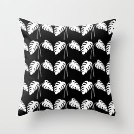 Tropical Monstera Leaves White on Black Throw Pillow