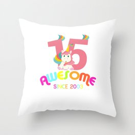 Awesome Since 2003 Unicorn 15th Birthday Anniversaries Throw Pillow