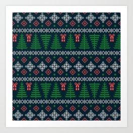 Christmas Tree Sweater Pattern - Dark Blue Art Print