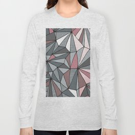 Urban Geometric Pattern on Concrete - Dark grey and pink Long Sleeve T-shirt