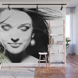 Portrait of a dreamy girl. Wall Mural