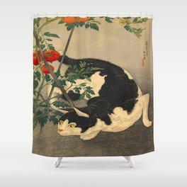 Shotei Takahashi Black & White Cat Tomato Garden Japanese Woodblock Print Shower Curtain
