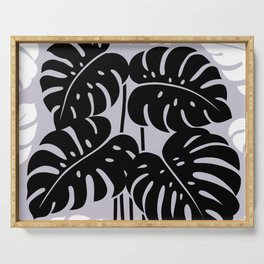 PLANTS - philodendron#3_Black and White Serving Tray