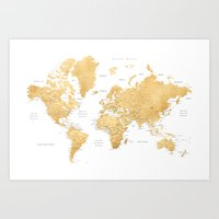 Gold world map with cities Art Print